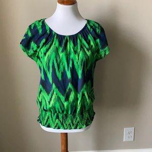 Michael Kors vibrant green/blue peasant blouse